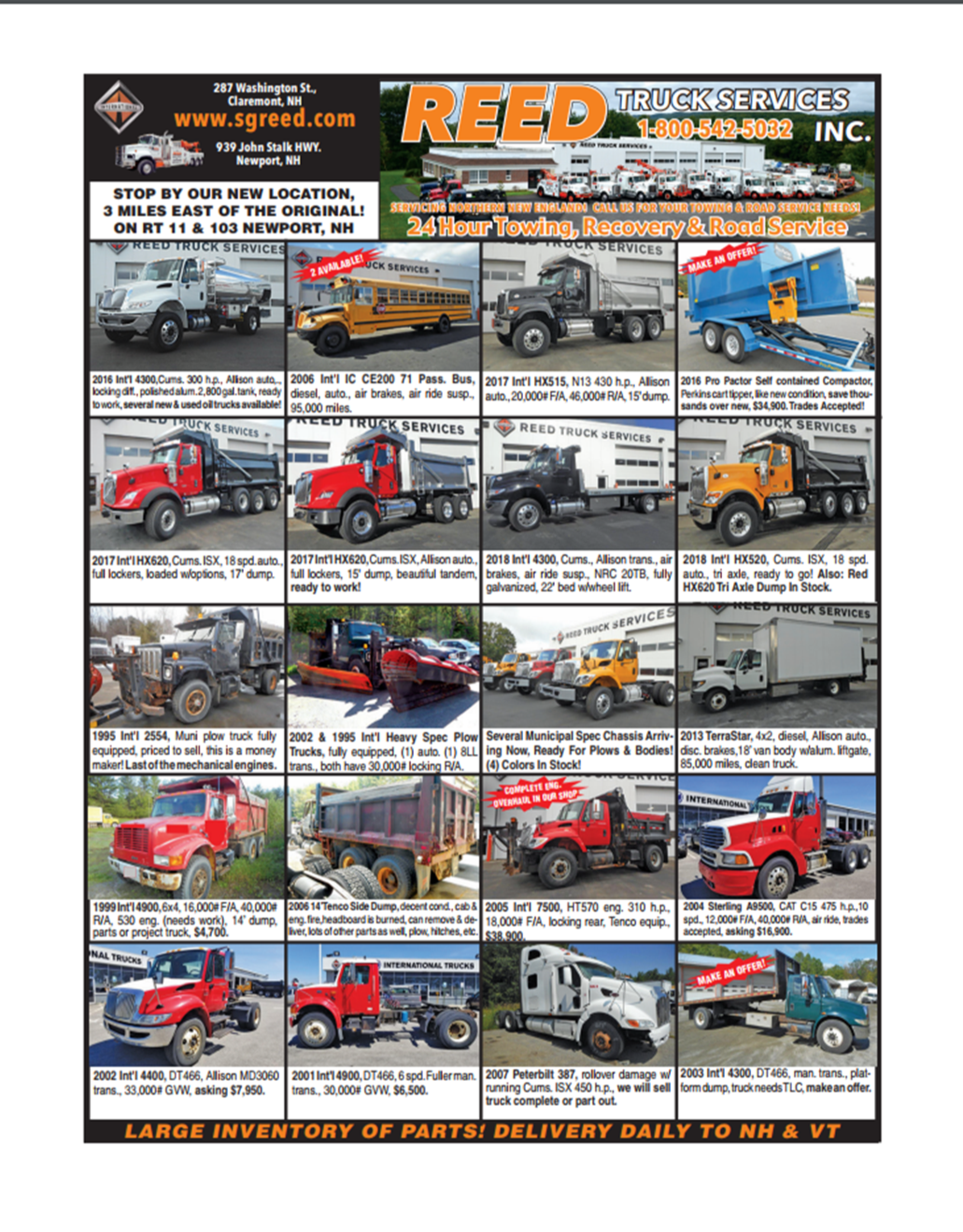 Reed Truck Services Flier August 2017